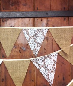 Burlap and lace bunting, by Dollyblue11 on etsy.com