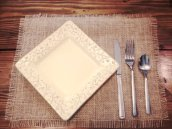 Burlap placemats, by FunkyFlamango on etsy.com