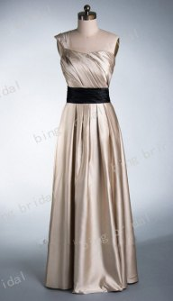 Champagne and black bridesmaid dress, by bingbridal on etsy.com
