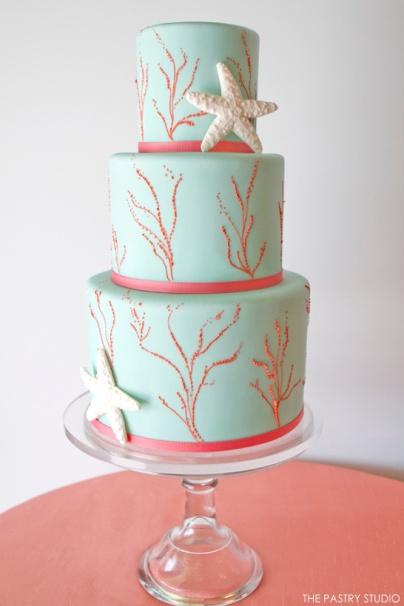 Coral and aqua beach wedding cake inspiration {via thecakeblog.com}