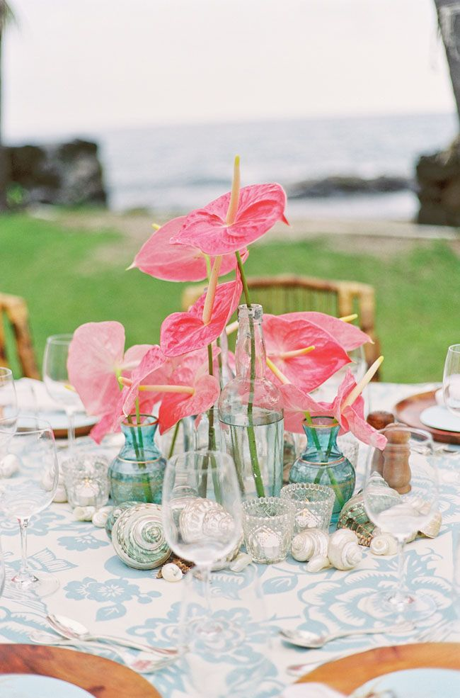 Published February 28 2014 at 650 × 985 in Coral and aqua tropical destination wedding : tropical wedding table settings - pezcame.com