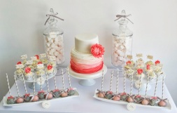 Coral and grey dessert table inspiration {via sugarruffles.com}