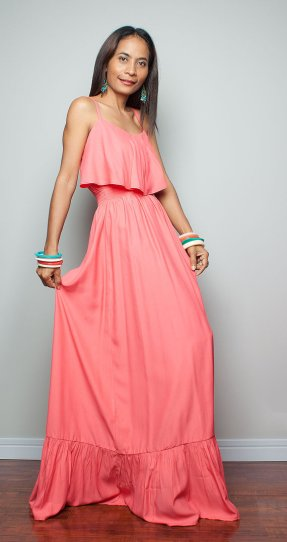 Coral beach bridesmaid dress, by Nuichan on etsy.com