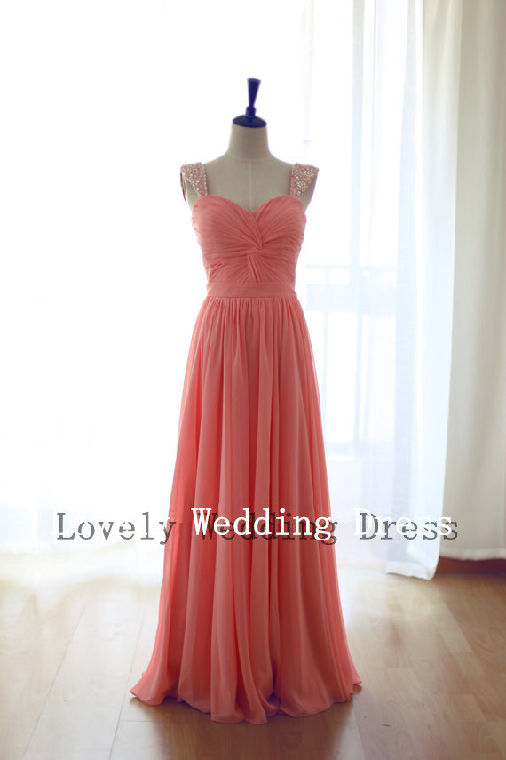 Coral bridesmaid dress, by LOVELYWEDDINGDRESS on etsy.com ...