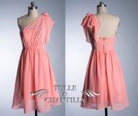 Coral bridesmaid dress, by TulleandChantilly on etsy.com