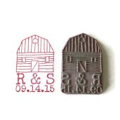 Customised barn wedding stamp, by creatiate on etsy.com
