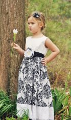 Damask print flower girl dress, by SashCouture1 on etsy.com