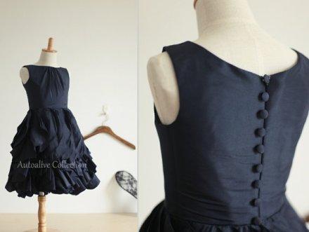 Dark navy flower girl dress, by autoalive on etsy.com