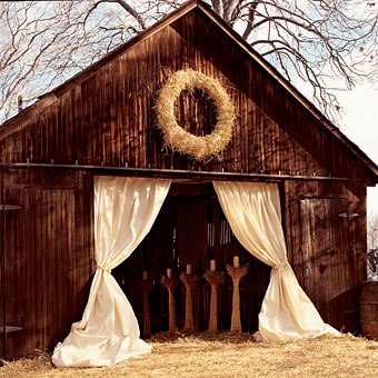 Drapery at a barn wedding entrance {via intimateweddings.com}