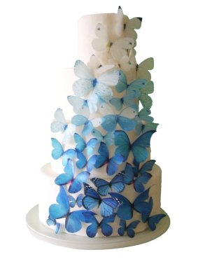 Edible butterflies cake decorations, by incrEDIBLEtoppers on etsy.com