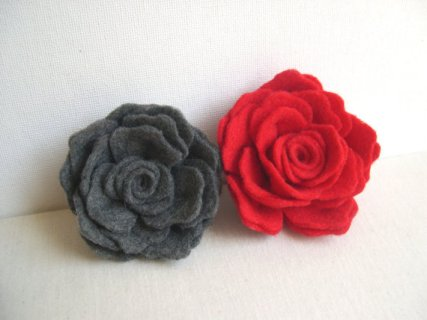 Felt rose hair accessories, by MaryKCreation on etsy.com