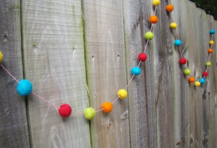 Felt ball garland, by BestDayEverDesign on etsy.com