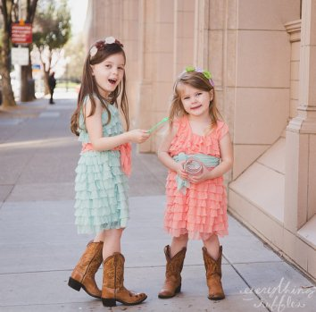 Flower girl dresses, by EverythingRuffles on etsy.com