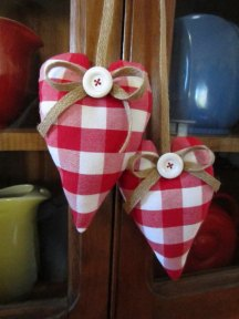 Gingham barn wedding heart decor, by DotAndAnn on etsy.com