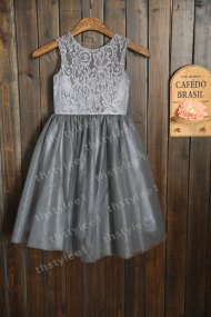 Grey flower girl dress, by thstylee1 on etsy.com