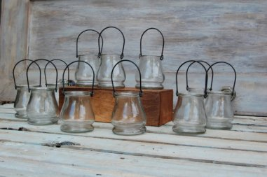 Hanging candle-holder vases, by MyRusticWeddings on etsy.com