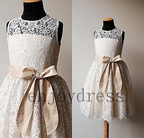 6c8e8880987 Ivory lace flower girl dress