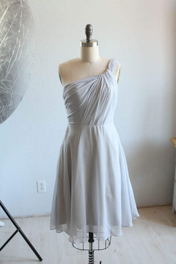 light grey bridesmaid dress by renzrags on the