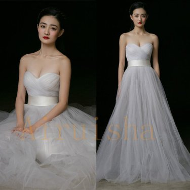 Light grey wedding dress, by Airuishaweddingdress on etsy.com
