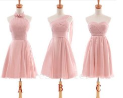 Light pink bridesmaid dress in three styles, by Tinadress on etsy.com