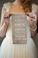 Menu printed on the napkins {via stylemepretty.com}