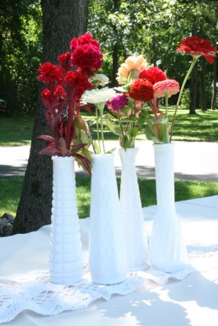 Milk glass vases, by NRZimmerLong on etsy.com