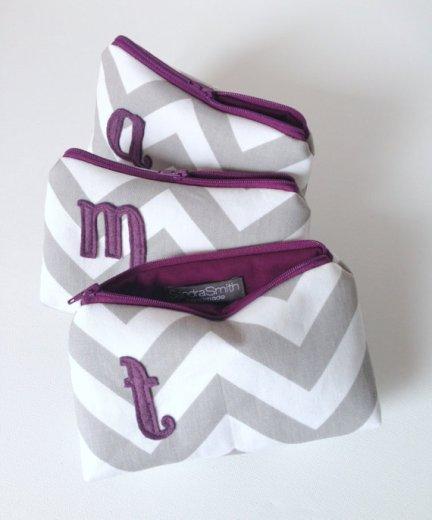 Monogram cosmetic bags, by SandraSmithHandmade on etsy.com