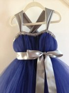 Navy and silver flower girl dress, by HadandHarps on etsy.com