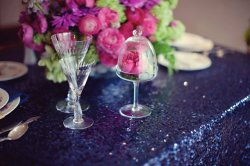 Navy sequin tablecloth, by CandyCrushEvents on etsy.com