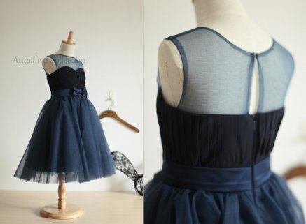 Navy tulle and chiffon flower girl dress, by autoalive on etsy.com