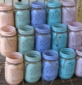 Painted mason jars, by TheShabbyChicWedding on etsy.com