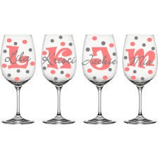 Personalised bridesmaid wine glasses, by PrettyLittleDezigns on etsy.com