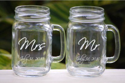 Personalised mason jar mugs, by UrbanFarmhouseTampa on etsy.com