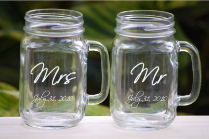 Personalised mason jar mugs, by UrbanFarmhouseTampa on etsy.com