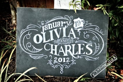 Personalised wedding sign, by customchalk on etsy.com