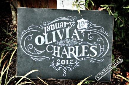 Personalised wedding sign, by customchalk on etsy.com