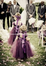 Plum flower girl dresses, by OliviaKateCouture on etsy.com