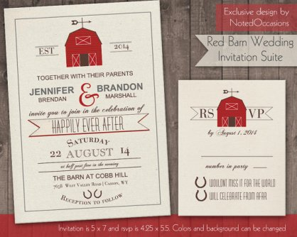 Red barn wedding invitation, by NotedOccasions on etsy.com