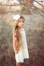 Ruffled flower girl dress, by PrettyPreciousKids on etsy.com