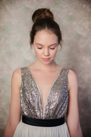 Sequin bodice wedding dress (full length), by Truvelle on etsy.com