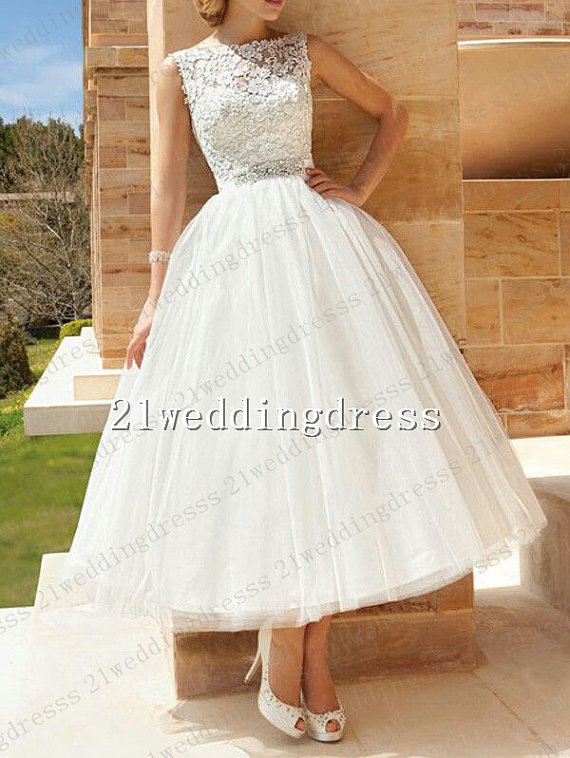 Tea length wedding dress by 21weddingdress on for Etsy dresses for weddings