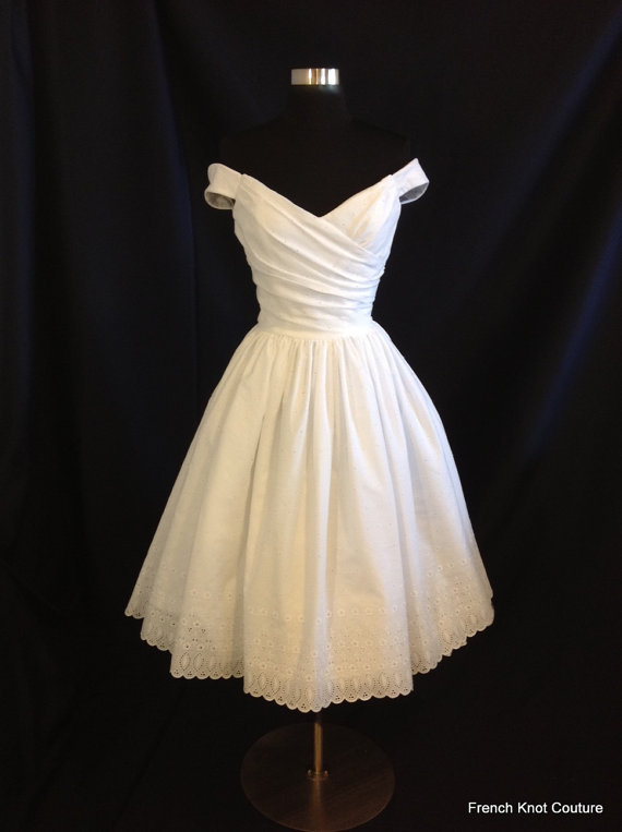 Tea Length Wedding Dress By Frenchknotcouture On Etsy Com