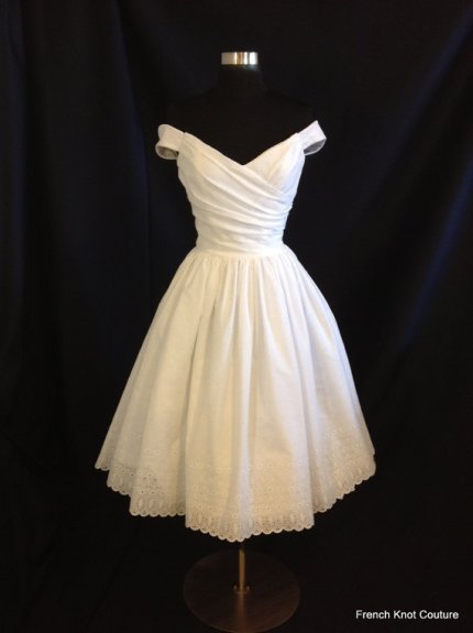 Tea-length wedding dress, by FrenchKnotCouture on etsy.com