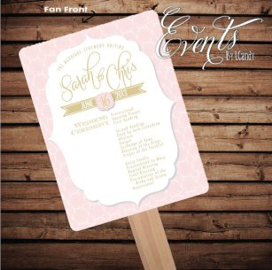 Wedding fan ceremony programme, by Eventsbyicandy on etsy.com