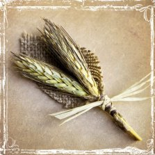 Wheat and burlap boutonniere, by sparkleandposy on etsy.com