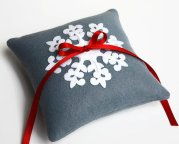 Winter wedding ring pillow, by LilliansGarden on etsy.com