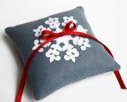 Winter wedding ring pillow, by LilliansGarden on etsy.com