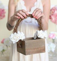 Wooden flower girl basket, by braggingbags on etsy.com