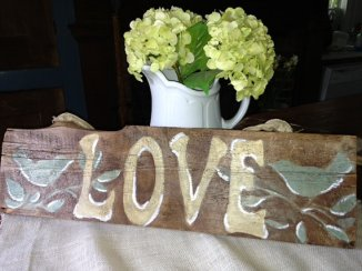 Wooden love sign, by FreshRestorations on etsy.com