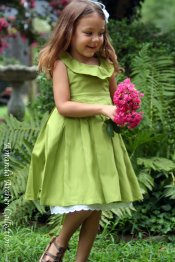 Apple-green flower girl dress, by AmandaArcher on etsy.com